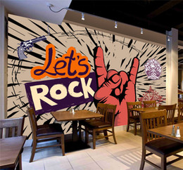 Wholesale Photo Prints Poster - Custom Photo Wallpaper Rock Music Art Mural KTV Bar Cafe Wall Decorative Painting Paper Poster Wall Paper Murales De Pared 3D