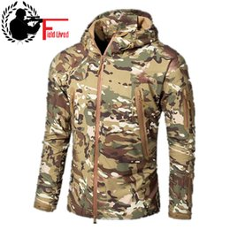 white skin jacket Promo Codes - CAMOUFLAGE JACKET MEN 2016 Army Style Tactical Soft Shell Warm Fleece Waterproof Coat Male CAMO Shark Skin Outdoors