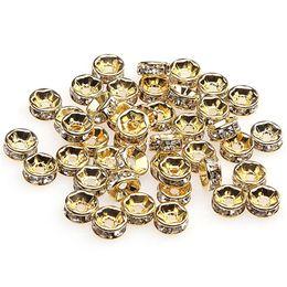 Perlas de plata rondelle online-1000 unids / lote 18 K oro blanco plateado oro / color de plata Crystal Rhinestone Rondelle Beads suelta granos del espaciador para DIY joyería que hace al por mayor