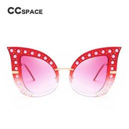 Wholesale Glitter Glasses Frames - CCSPACE 8 Colors Oversized Cat Eye Sunglasses For Women Pearl Glitter Metal Frame Brand Glasses Designer Fashion Female 45350