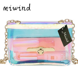 Wholesale Wholesale Clear Pvc Woman Handbags - MIWIND Transparent Hologram Bag Women Hand Clutches Cute Kawaii PVC Bag Clear Small Chain Mini Messenger Handbag