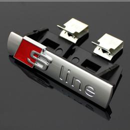 Wholesale Sline S Line Badge - For Audi Q3 Q5 Q7 A3 A5 RS 3D Metal Sline S line Badge Brand Logo Front Hood Grill Grille Emblem With Base