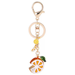 2019 acessórios carro laranja Criativo Fruta Chaveiro Laranja Carro Chaveiro Pingente de Limão Saco Feminino Pingente Acessórios Moda Presente Charme Jóias Chaveiro desconto acessórios carro laranja