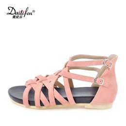 f8d2fc70eb8e4 wholesale Designer shoes woman Sandalie Gladiator Sandals Open toes Buckle  Strap Flat Sandals Summer soft girls Party Beach shoes