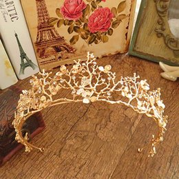 Wholesale wig black cosplay men - Gold Flower Bridal Crown Rhinestone Tiaras for Women Wedding Diadem Hair Accessories