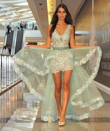 Fiesta verte en Ligne-Robes de soirée robes de fiesta menthe verte fourreau avec jupe détachable appliques col en V courte partie robes de bal arabe