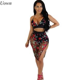 Wholesale Two Piece Pencil Skirt Set - Uown 2017 Brand Summer Women Suits 2 Two Piece Crop Top and Skirt Set Black Bandage Bodycon Slim Midi Pencil Skirt Suits