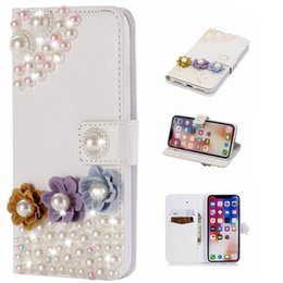 Wholesale red flower cards - Luxury 3D Wallet Case For Iphone X 8 7 Plus 6 6S 5 SE Huawei P20 Mate 10 Lite Pearl Bead Leather Flower Butterfly Coque Bling Diamond Shell