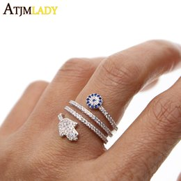 hamsa rings Promo Codes - 2018 New Anillos Top Quality Screw Twist Rings With Micro Paved Hamsa Fatima Hand For Palm Eye Charm Crystals Women Jewelry