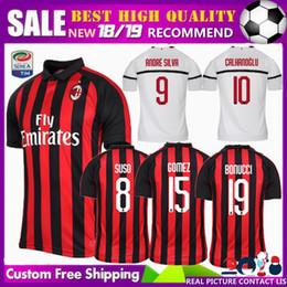 FREE Ship 18 19 AC milan soccer jerseys 2018 2019 BONUCCI KESSIE ANDRE  SILVA CUTRONE CALHANOGLU KALINIC BONAVENTURA football shirt 005fb8e20