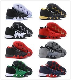Wholesale Green 4s - Kyrie 4 EP Black White Men Basketball Shoes New Irving 4s IV Red Green Yellow Grey Sports Sneakers US 7-12