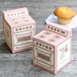 bolsas rosa favor Rebajas Caja rosada del mollete de la forma del horno, cajas de la magdalena 30PCS / LOT
