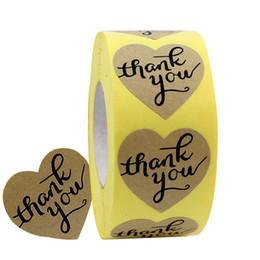 Gracias etiquetas engomadas del sello online-1 rollos de 3,5 cm en forma de corazón gracias pegatina Papel artesanal etiqueta de agradecimiento, 500 etiquetas adhesivas, pegatinas de sellado decorativo