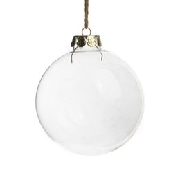 Wholesale Glass Ball Christmas Ornaments - Christmas Ball, 100mm Clear Glass Ornament Balls 4'' Silver Tops, Wedding  Christmas  Party Decoration, free shipping 8pcs  lot