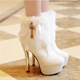 Wholesale Pretty Pumps - Exquisite Women Boot Warm Winter Genuine Rabbit Fur Boot Pretty High Heeled Shoes Fashionable Winter With Beautiful Lace Bow