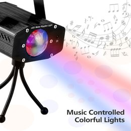 Wholesale Mini Laser Dmx - Mini RGB 9W Sound Activated Christmas Projector LED Stage Light Lumiere Disco Laser DJ Party DMX Show Stage Lighting Effect Lamp