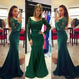 Wholesale Silver Dress Small Train - Elegant Sheath Long Sleeves Mother of the Bride Dresses V-Neck Dark Green Mermaid Lace Satin Evening Cocktail Gowns with Small Train