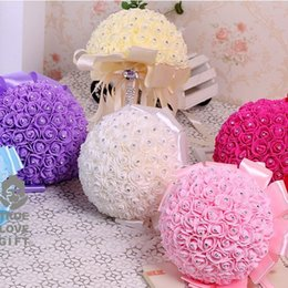 Wholesale Holding Flowers - Artificial Bridal Bouquet With Polyester Ribbon Rhinestone Half Round Flower Wedding Decorations Handmade Rose Foam Holding Flowers 21jz BW