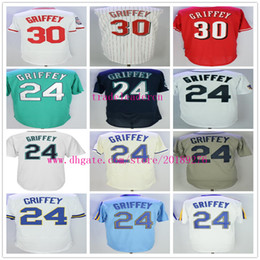 Wholesale Ladies Jerseys Cheap - Mens Lady #24 Ken Griffey Jr Cream Gray Teal Blue Navy Blue White Pull Down Cooperstown Thrownback Cheap Baseball Jerseys