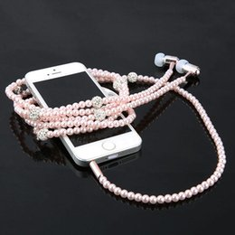 Wholesale Black Pearls Chinese - Earphones Earbuds with Microphone In-ear pearl Jewelry Necklace Wired Earphone Girl Gift For Iphone XiaoMi samsung mobile phone