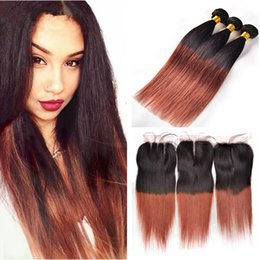 Wholesale Two Toned Lace Top Closure - Two Tone 1b 33 Dark Auburn Straight Hair Bundles With Lace Closure Middle Free Three Part Top Closure With Silk Straight Hair Weft