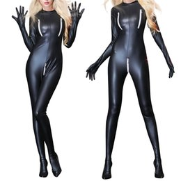 black catsuit club Coupons - Sexy Women PU Leather Bodysuit Black Zipper Catsuit Erotic Wet Look Long Styles Club Jumpsuit Dance Wear Erotic Latex Catsuit