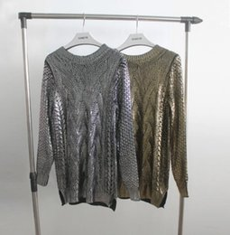Wholesale Golden Knit - European Style Women Bronzing Sweater Round Neck Casual Golden Silver Knitwear Sweaters Ladies Pullovers Sweaters SL1163