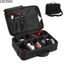 Wholesale Cosmetic Bag Nail - LHLYSGS Brand Women Travel Large Double Layer Professional Cosmetic Cases For Organizer Tattoos Nail Art Tool Beauty Makeup Bag