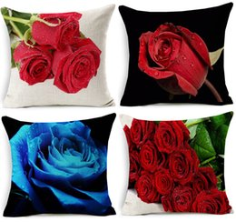 Wholesale 3d Rose Pillow Case - 3D Effect Red Rose Cushion Cover Beautiful Fresh Roses Floral Cushion Covers Home Sofa Decorative Linen Cotton Pillow Case