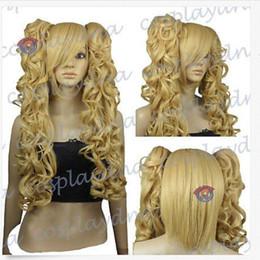 Бесплатный Shippingheat устойчивостью бежевый блондинка косплей парик с вьющимися клип на хвосты от