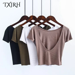 2020 пуловер TXJRH Sexy Backless Slim Tight Crop O-Neck Pullover Halter Short T-Shirt Women Short Sleeve Stretch Thread Tee Tops 4 Colors New скидка пуловер