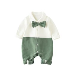 Wholesale winter down baby jumpsuits - Baby Romper Spring Summer Bow Jumpsuit for Boys Girls Boutique Toddler Clothing Kids Fashion Children Clothes New