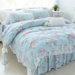 Wholesale Pink Pillow Shams - New Pastoral print bedding set lace ruffle duvet cover bedding elegant bedspread bed sheet princess bed cover skirt pillow sham