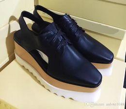 Wholesale women brown oxford heels - Hot Sale Stella Mccartney Women Cut-Out Platform Shoes Top Quality Ladies Thick Heels Flats Wedges Oxfords Elyse Sneakers Slingback Sandals
