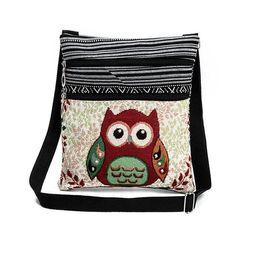Wholesale Animal Gym Bag - Wholesale women Folk style double zipper owl printed jacquard shoulder bags female ultra light ladies postman bag