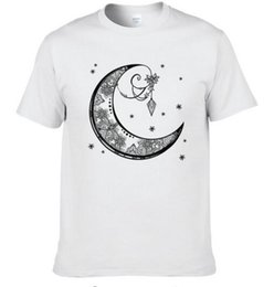 Wholesale vintage tee shirt designs - 2017 Summer Fashion vintage Decorative moon Design T Shirt Men's High Quality Custom Printed Tops cotton Tees #246