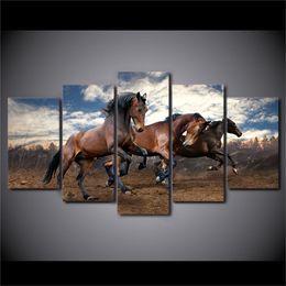 Pintura a óleo cavalo animal on-line-Animais Running Horse-1 5 Peças Cópias Da Lona Arte Da Parede Pintura A Óleo Home Decor / (Sem Moldura / Emoldurado)