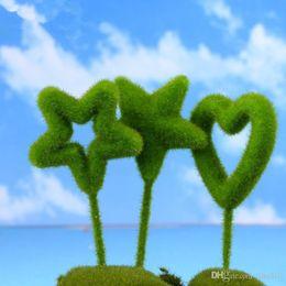 2019 miniature paesaggio New Kawaii Mini Home Decor Garden Miniature Handmade Cuore a forma di cuore Moss Bonsai Micro Landscape Crafts T2I117 sconti miniature paesaggio
