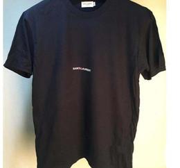 2019 pantaloni grigi grigio camicia Maglietta degli uomini Lettera semplice Stampata saint T Shirt Paris / SLP Manica corta Mens Lauren tag Street Style Top Tee Shirt libera la nave