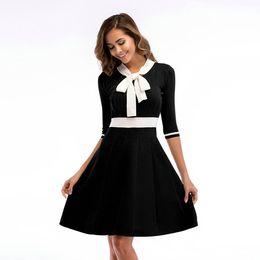bow midi skirt NZ - 2018 Temperament Commuter Women's Colorblock Bow Collar Sleeve Large Sleeve Skirt Slim Knit Dress Female