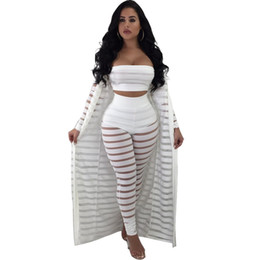 ankle length see through dress Coupons - 2018 Mesh Club 3 Three Piece Set Sexy See Through Bra Pants Cardigans Night Party Clothes Matching Women Sets Clubwear