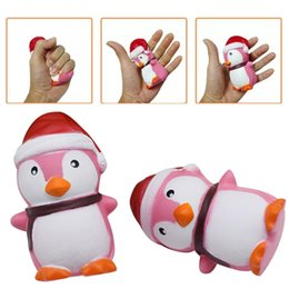 Wholesale Penguin Animal Hat - Squishies Toy Slow Rising Penguin Scent Squeeze Children Cute Kawaii Squishy Christmas Hat Animal Cap Decoration Free Shipping SQU025