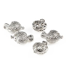 Wholesale Heart Pendant Filigree - 10pcs Silver Plated Cage Filigree Heart Essential Oil Diffuser Necklace Locket Pendants For DIY Jewelry Making