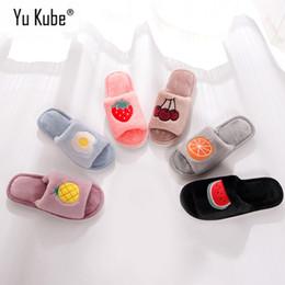 817a7123d8a596 Yu Kube Fruit Fur Slippers 2018 New Cartoon Slides Soft Winter Slip on Warm  House flip flops Indoor Bedroom Floor Shoes Women
