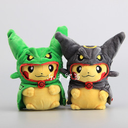 """Wholesale Pocket Plush - New Pikachu Cosplay Rayquaza Pocket Monsters Plush Doll Stuffed Animals Toy For Child Gifts ( 2pcs Lot - Size: 8"""" 20cm )"""