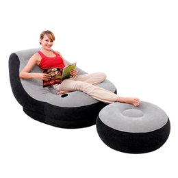 Wholesale Inflatable Sofa Furniture - Sofa Set Living Room Furniture Inflatable Gaming Chair With Ottoman Relax Seat Creative Flocking Foldable Sofas Top Quality 86ab Z