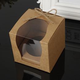 Wholesale Cupcake Packaging Boxes - Brown Kraft Paper Cupcake Box Cake Box With Window Wedding Party Favor Box Cake Packaging