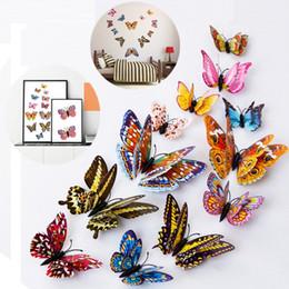 Pared de papel tapiz mariposa online-Nueva simulación de fondo de pantalla de mariposa estéreo de dos pisos luz de noche mariposa pasta decorativa hogar dormitorio pegatinas de pared T3I0113