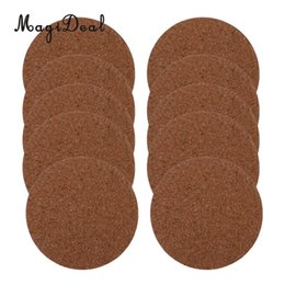 Wholesale wood placemats - MagiDeal 10pcs Adhesive Cup Mat Cork Drink Coasters Placemats Soft Wood Tablemats