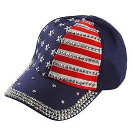 Winfox High Quality America Flag Red Navy Patchwork Baseball Cap Women Men  Denim Rhinestone Crystal Hip Hop Snapbacks Hats 366a59cf4ed8